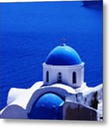 Greek Blue Vertical Metal Print