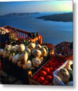 Greek Food At Santorini Metal Print by David Smith