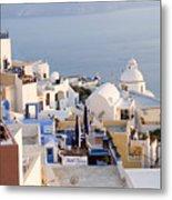 Greek Island Volcanic Town Metal Print