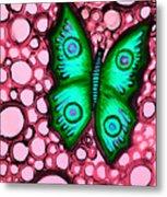 Green Butterfly Metal Print by Brenda Higginson