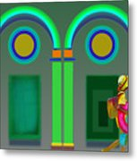 Green Doors Metal Print