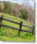 Green Hills And Rustic Fence Metal Print