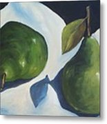 Green Pears On Linen - 2007 Metal Print