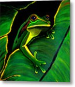 Green Tree Frog And Leaf Metal Print by Nick Gustafson