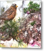 Grey Crown Rosy Finch Metal Print