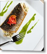 Grey Mullet With Watercress Sauce Presented On A Square White Plate With Cutlery And Napkin Metal Print