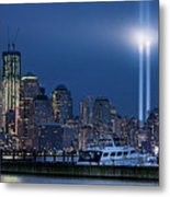 Ground Zero Tribute Lights And The Freedom Tower Metal Print