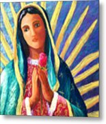 Guadalupe With Rose Metal Print