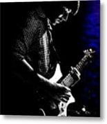 Guitar Man In Blue Metal Print by Meirion Matthias