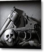 Gun And Skull Metal Print