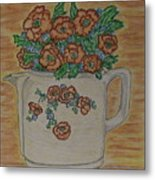 Hall China Orange Poppy And Poppies Metal Print