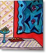 Hanging In Blues On Red Metal Print