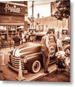 Harley 110 In Downtown Milwaukee Metal Print