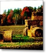Hay Bail Tractor  Metal Print by Marsha Heiken