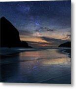 Haystack Rock Under Starry Night Sky Metal Print