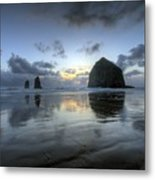 Haystacks At Sunset Metal Print