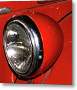 Headlamp On Red Firetruck Metal Print