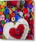 Heart Pushpin Chusion  Metal Print