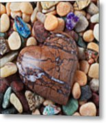 Heart Stone Among River Stones Metal Print by Garry Gay