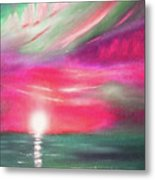 Here It Goes - In Teal And Magenta Vertical Sunset Metal Print