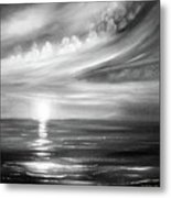 Here It Goes - Square Sunset In Black And White Metal Print