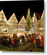 Herrenberg Christmas Market At Night Metal Print by Greg Dale