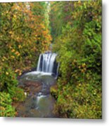 Hidden Falls In Autumn Metal Print