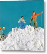 Hiking On Flour Snow Mountain Metal Print