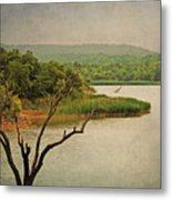 Hills And Lake In The Spring Metal Print