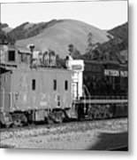 Historic Niles Trains In California . Southern Pacific Locomotive And Sante Fe Caboose.7d10843.bw Metal Print by Wingsdomain Art and Photography