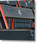 Historical Wood Seating At Boston Fenway Park Metal Print