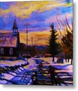 Hockey Game In The Village Metal Print by Carole Spandau