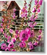 Hollyhock Barn Metal Print