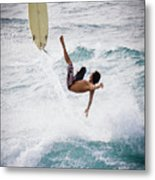 Hookipa Maui Flying Surfer Metal Print by Denis Dore
