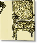 Horizontal Poster Of Chairs In Sepia Metal Print