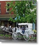 Horse And White Buggy Metal Print