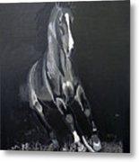 Horse Running Along The Shore Metal Print