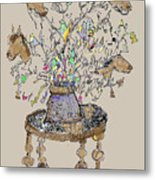 Horse Table Metal Print