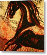Horse Through Web Of Fire Metal Print