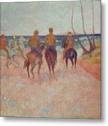 Horseman On The Beach Metal Print by Paul Gauguin