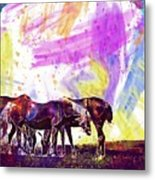 Horses Flock Pasture Animal  Metal Print