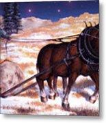 Horses Pulling Log Metal Print