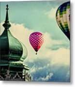 Hot Air Balloons Float Over Lewiston Maine Metal Print