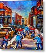 Hotel De Ville Montreal Hockey Street Scene Metal Print