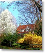 House On The Hill In Spring Metal Print