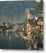 Houses Line The Lake Of Hallstatt Metal Print