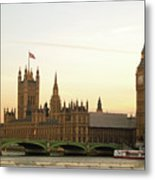 Houses Of Parliament From The South Bank Metal Print by Sharon Vos-Arnold