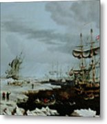 Hull Whalers In The Arctic  Metal Print by Thomas A Binks