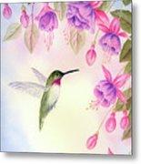 Hummingbird With Fuchsia Metal Print
