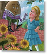 Humpty Dumpty On Wall With Alice Metal Print